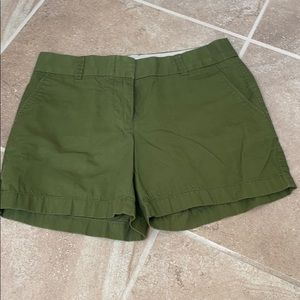 "Size 0, olive J Crew chino 5"" inseam shorts"